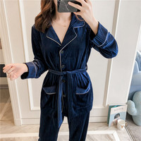 2019 New arrival Pajamas Sets Pleuche Winter Autumn Sleepwear Long Sleeve Long Pants Underwear Solid Pyjamas Women Sleep Lounge