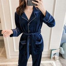 2019 New arrival Pajamas Sets Pleuche Winter Autumn Sleepwear Long Sleeve Long Pants Underwear Solid