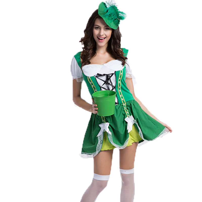 Adulte Sassy Gamine Costumes St. Patricks Day Costume pour Femmes Fille Oktoberfest Costumes Maid Chanceux Charme Vert Robe avec chapeau