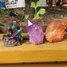 65 г редкий красивый фиолетовый пламя аура гроздь кристаллов кварца образец