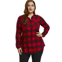 LANGSTAR Plus Size Lace Panel Back Long Sleeve Shirt Winter Fashion Plaid Long Sleeve Womens Tops