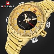 Top Brand NAVIFORCE Men's Sport Watches Men Quartz Analog LED Clock Male Full Steel Military Waterproof Watch Relogio Masculino