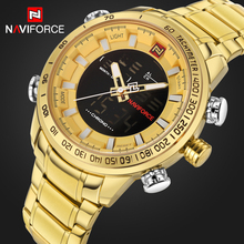 Top Brand NAVIFORCE Men's Sport Watches Men Quartz Analog LED Clock Male Full Steel Military Waterproof Watch Relogio Masculino