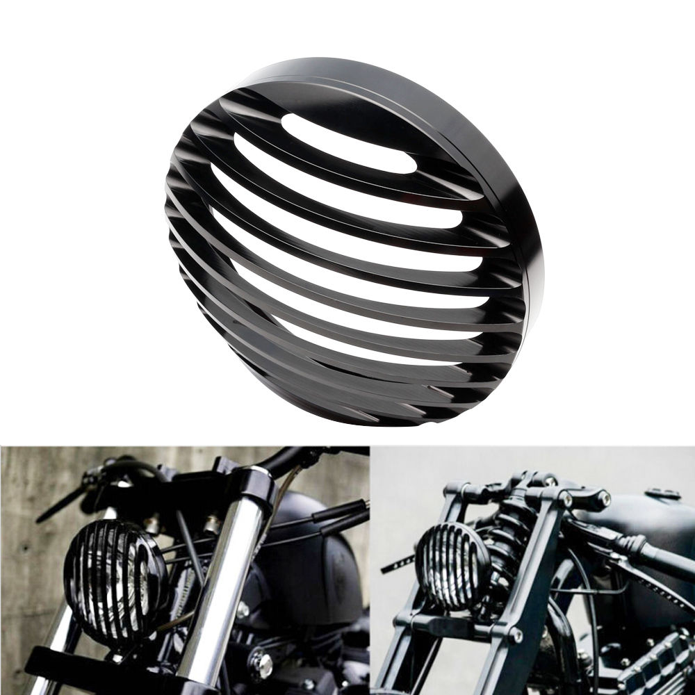 Neverland 5 3/4 Black Motorcycle Headlight CNC Grill Bezel Cover For Harley XL Sportster 883 1200 D35 5 3 4 led headlight for triumph rocket iii 3
