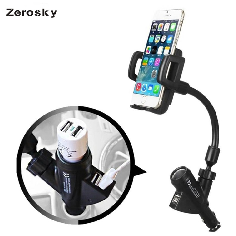 Zerosky Universal Car Phone Holder Dual USB Cigarette Lighter Charging Mobile 360 Degree Rotating Mount Stand for iphone Samsung