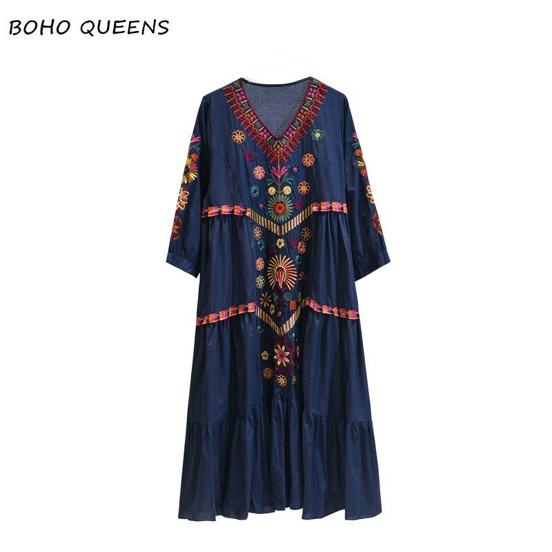 Vintage Chic vestidos Boho dress vintage Floral embroidery beach Bohemian maxi dress Ladies V neck Summer
