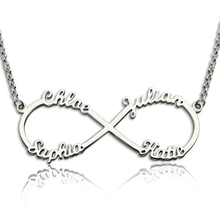 925 Sterling Silver Necklace Infinity 4 Names Necklace Endless Love Friendship Gift DIY Names Personalized Necklace
