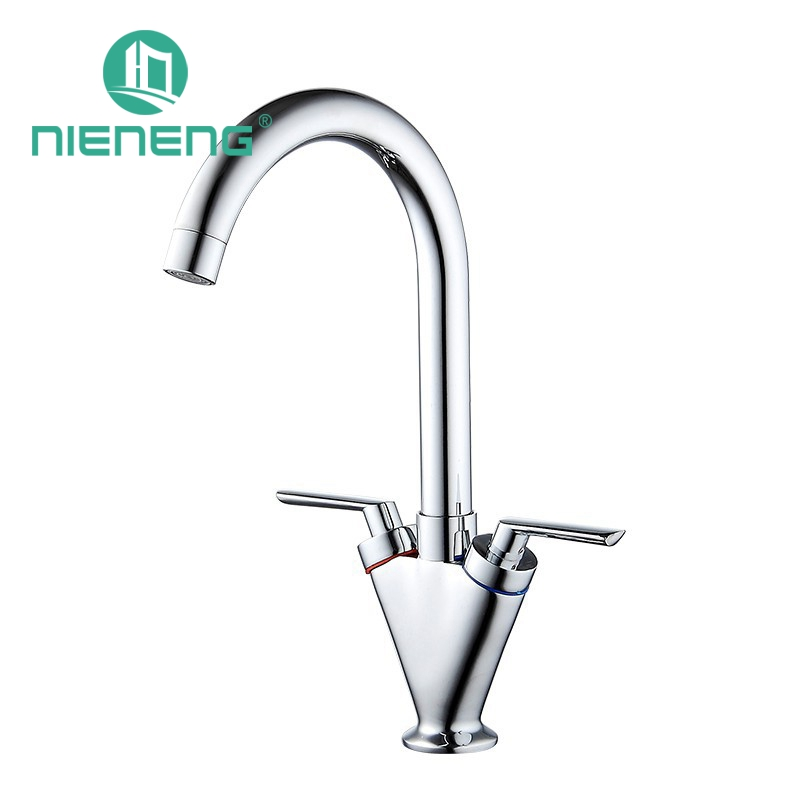 Nieneng Silver Double Cold And Hot Handle Kitchen Faucet Mixer Contemporary Single Hole Water Tap Antique Brass Faucet ICD60314 micoe brass faucet single handle single hole kitchen faucet double nozzle water mixer chrome hot and cold water rotating faucet