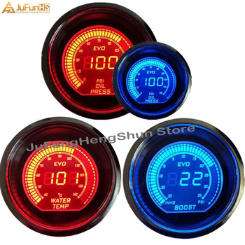 2 cal 52mm Psi turbo boost samochodu Gauge prasa do oleju manometr wskaźniki temperatury wody Auto 12V niebieski czerwony LED miernik z czujnikiem tanie i dobre opinie JuFunHS CN (pochodzenie) Front Fit for 2 52mm Just Fit for 12V Gasoline car 700g 52mm Digital Gauges China 520mm digital display