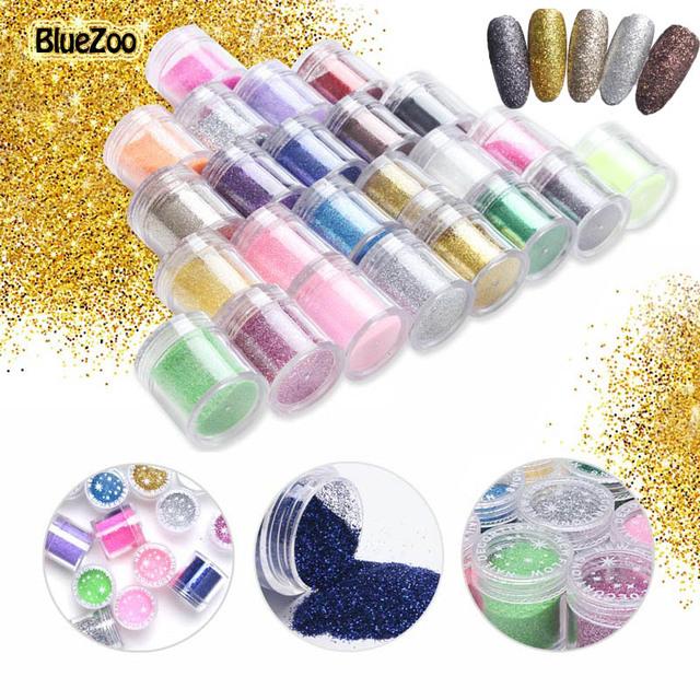 BlueZoo 24 Botellas/set de Uñas Glitter polvo del Polvo de Acrílico UV Gel Consejos de Diseño De Uñas 3D Decoración de Uñas de Manicura arte Accesseries