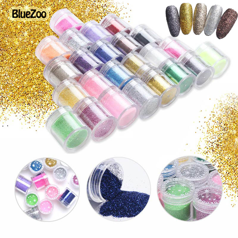 BlueZoo 24 Bottles/set Nail Glitter Acrylic Powder Dust UV Gel Design For Nails 3D Tips Decoration Manicure Nail Art Accesseries 24 bottles 3d colorful shiny nail glitter powder sequins manicure festival nail art decorations for women
