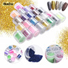 BlueZoo 24 Bottles Set Nail Glitter Acrylic Powder Dust UV Gel Design For Nails 3D Tips