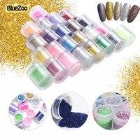 BlueZoo 24 Bottles Set Nail Glitter Acrylic Powder Dust UV Gel Design For Nails 3D Tips