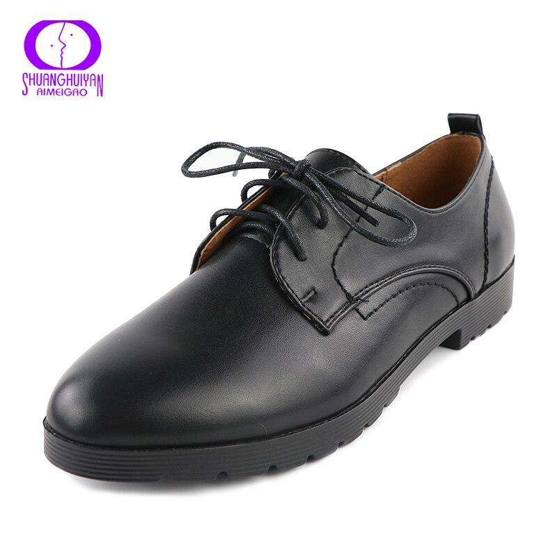 Otoño Nuevo Cordón Del Resorte Mujeres Planas Zapatos Negros En Punta Boca Profu