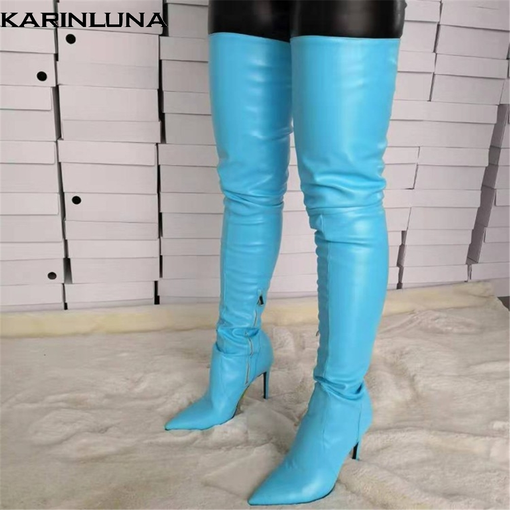 Karinluna Luxury Large Size 47 Sexy Pointed Toe Women Shoes Woman Hot High Quality Thin Heeled Over The Knee BootsKarinluna Luxury Large Size 47 Sexy Pointed Toe Women Shoes Woman Hot High Quality Thin Heeled Over The Knee Boots