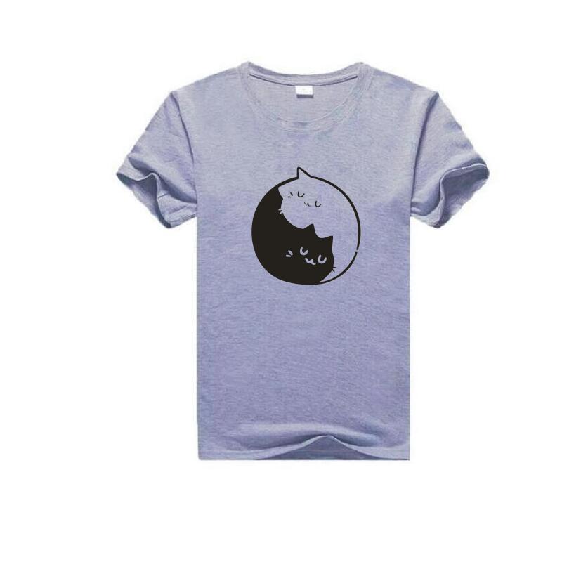 Yin et chat motif imprimé T Shirt femmes mode grande taille à manches courtes coton drôle t shirt Femme esthétique Art haut pour Femme - 3
