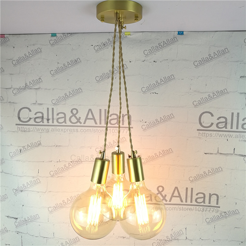 E27 brass material DIY pendant light fixture edison globe bulb 40W G125 vintage copper fabric wire lighting fixture chandelier half round brass ball copper lampshade fabric wire pendant lamp fixture brass lighting led modern style restaurant bedroom light