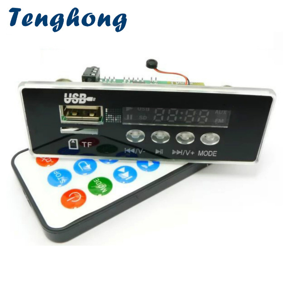 Tenghong LCD MP3 Decoder Board DC12V Headphone Bluetooth 4 2 Lossless Audio  Decoding Handsfree Sound WMA WAV APE MP3 USB Card