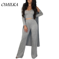 OMILKA 2018 Summer Women 3 Piece Set Crop Top Long Trench Coat and Long Pant Suits Sexy Gray Red Orange Outwear Clothing Set