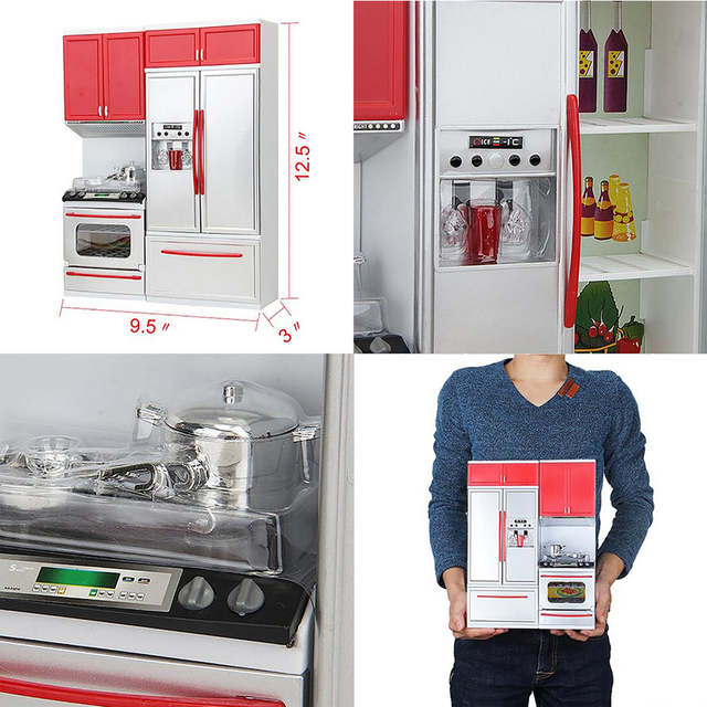 Children Pretend Role Play New Red Mini Kitchen Cupboard Pretend Play  Cooking Set Cabinet Stove Kids Girls Toy Gift T6#