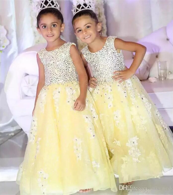 Princess Yellow Flower Girls Dresses A Line Crew Neck Beading Kids Girls Pageant Dress Formal Wears For Weddings Party Gown yellow hollow design crew neck flared sleeves dress