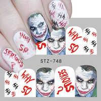 1 stücke Halloween Clown Design Wasser Transfer Aufkleber Maniküre Charme Cartoon Tipps Nail art Wasser Decals Dekoration JISTZ735-754