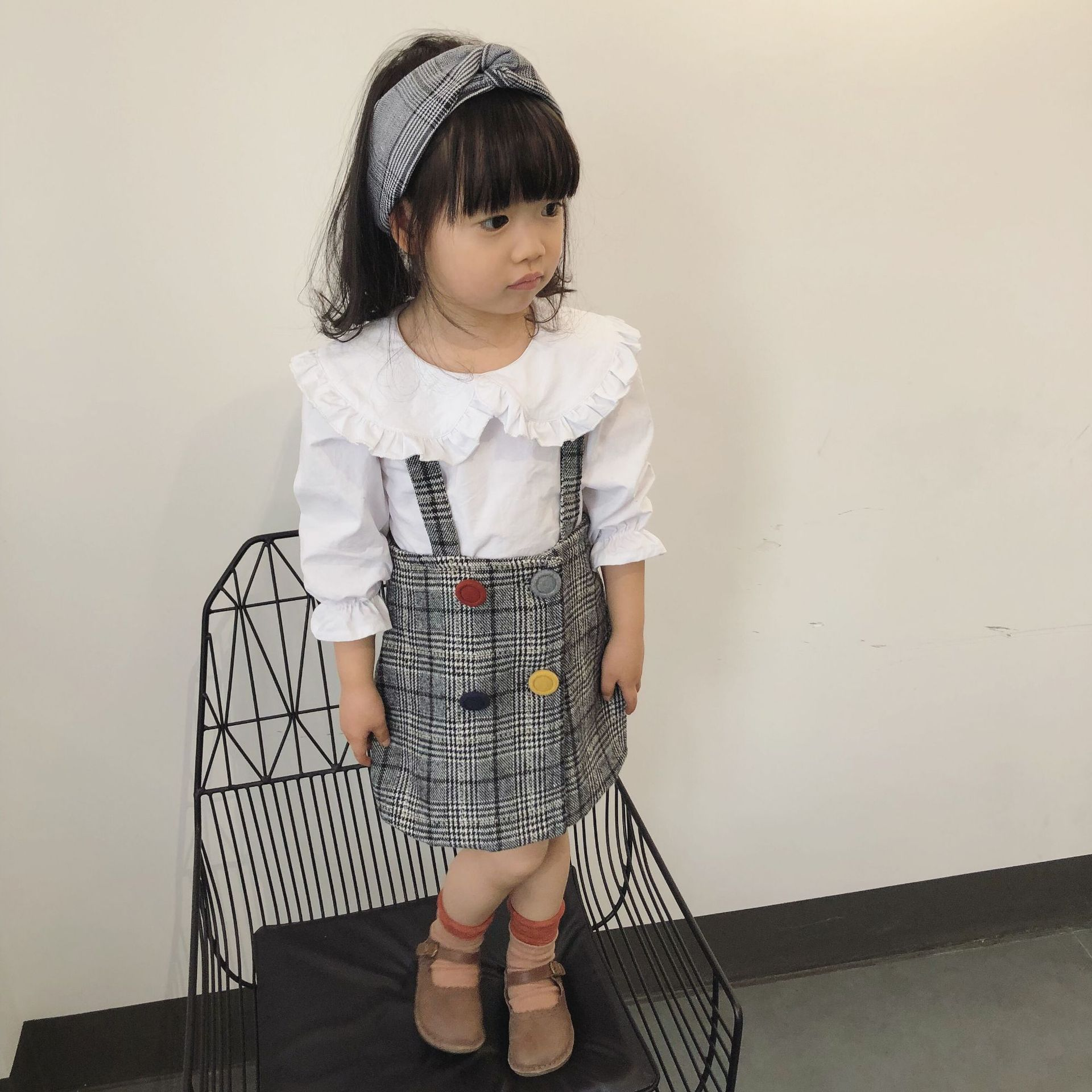 30dad3dfdc Spring autumn Korean style plaid suspender skirts for baby girls colorful  button fashion pinafore skirt children kids clothes