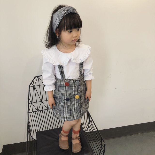 07a46808b97f Spring autumn Korean style plaid suspender skirts for baby girls colorful  button fashion pinafore skirt children kids clothes