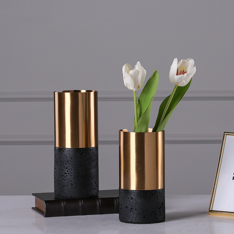 High Quality Marble and Copper Vases Creativity Desktop Furnishings Flower Pot Wedding&Home Decoration Accessories 32