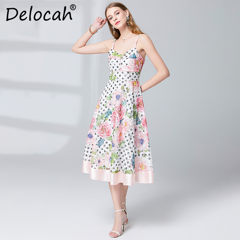 Delocah Women Spring Summer Dress Runway Fashion Designer Sexy Spaghetti Strap Gorgeous Sequined Hollow Out Elegant