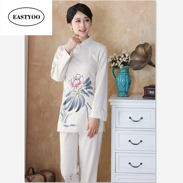 Traditional Chinese Clothing Sets Women Linen Blouse Pants Suit