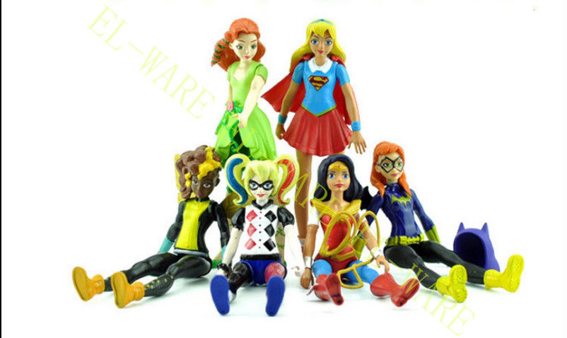 6pcs DC Comic Super Hero Girls Harly Quin Batgirl Kid Action Figures Toy Doll