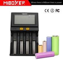 цена на Miboxer C4 LCD Smart Battery Charger for Li-ion IMR ICR LiFePO4 18650 14500 26650 21700 AAA Batteries 100-800mAh 1.5A