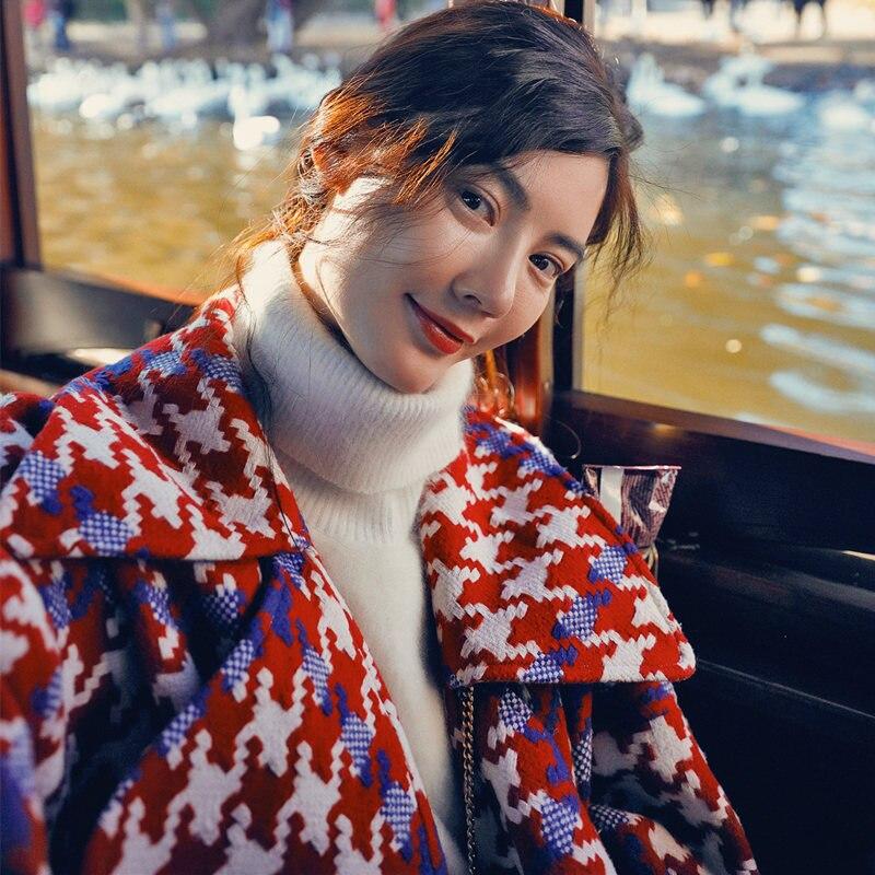 Haute Laine Ly66 De Chaud Poule Tournent Nouvelle Red Rouge Breasted Bas Hiver Double Manteau Automne Vers Le Pied Femmes Chaude Vestes Qualité Mode xfgIxq1