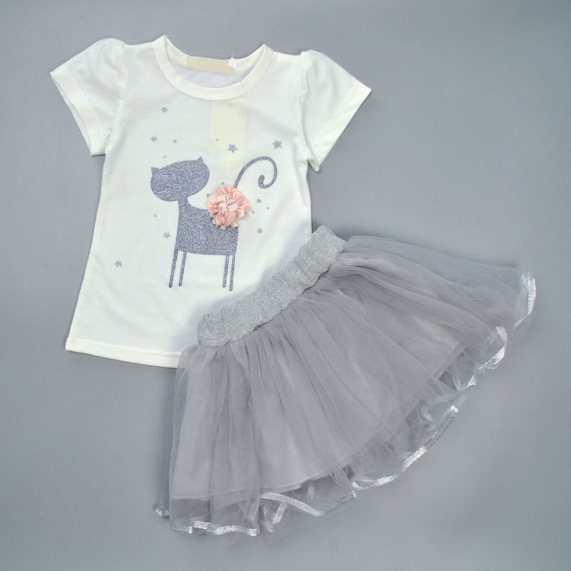 2pcs /Set Cute Baby Girls Clothing Set Floral Cat Printed T-shirt + Mesh Tutu Skirt Costume