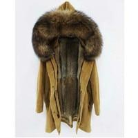 maomaokong 2018 winter Natural rabbit fur lining jacket Women parka fur coat Corduroy real raccoon fur collar warm Long parkas