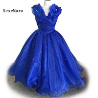 Real Picture Royal Blue Cinderella Dress for Girls Wedding Party Gown Lovely Mother Daughter Organza Girls Pageant Party Dress