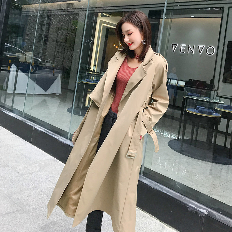 New Fashion Double Breasted Long Casaco   Trench   Coat Women Simple Khaki Office Lady Windbreaker Waterproof Outerwear MA502010