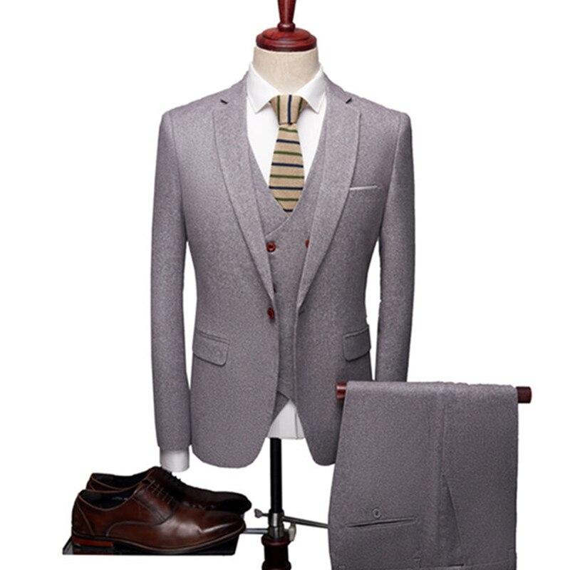 2019 winter thick wool brush grey blazers business casual men's suit multicolor jacket 3 piece suit (suit + pants + vest)