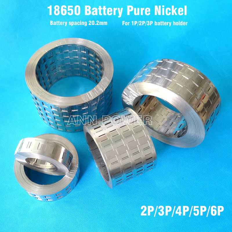 18650 batterie nickel pur bande 2 P/3 P/4 P/5 P/6 P/8 P nickel tab espacement des piles 20.2mm Ni ceinture pour 18650 batterie 1 P/2 P/3 P support