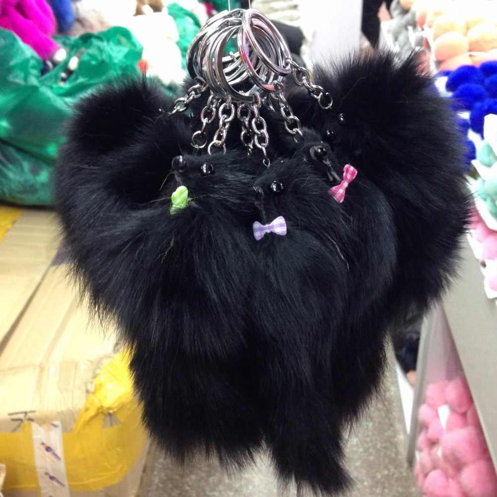 Baru Fashion Pom Pom Fox Bulu Gantungan Kunci Tas Wanita Pesona Mobil Gantungan Kunci Wanita Gantungan Kunci Kecil Fox Bentuk Gantungan Kunci perhiasan Pria Perhiasan