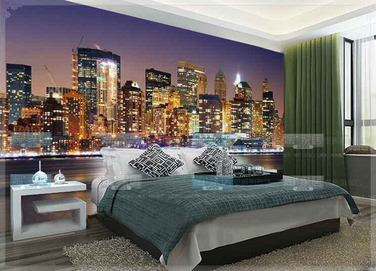 3d large city night wall mural for tv background photo wallpaper murals tapete 3d in wallpapers. Black Bedroom Furniture Sets. Home Design Ideas