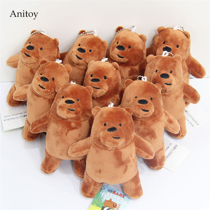 10pcs/lot We Bare Bears Grizzly Ice Bear Panda Plush Dolls with Chain Stuffed Soft Toys Kids Gift Pendants 13cm AP0597