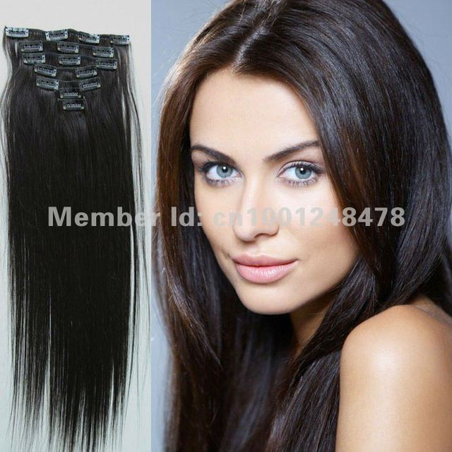 """Eton hair Thick Brazilian Remy Clip In Hair Extension14""""18""""20""""22""""24"""" 1B# 7Pcs Silky Straight High Quality accessories hairpiece"""