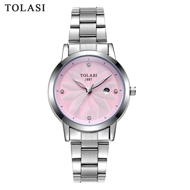 TOLASI Brand Fashion Quartz Women Watch Stainless Steel Clock Women's Watches Casual Date Relogio Feminino Female Wristwatches