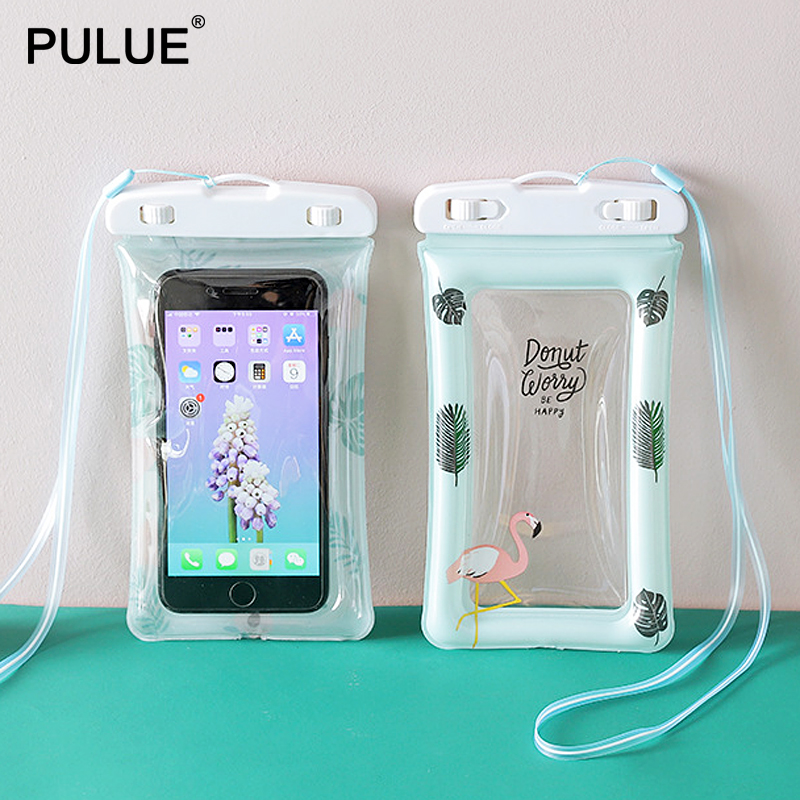 Waterproof Touch Screen Smartphone Bag Travel Swimming Diving Drifting Phone Pouch Case Underwater Float Airbag Mobile Phone Bag
