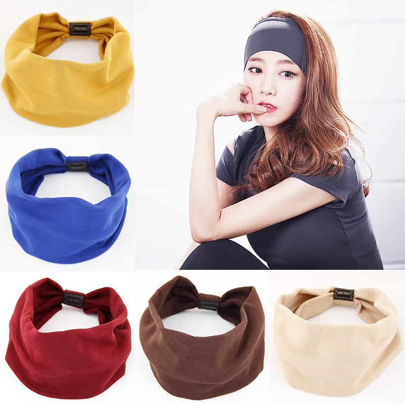 Hot Korean Hair Band For Women Cotton Yoga Casual Face Headband Female Hair Accessories Hair Bows