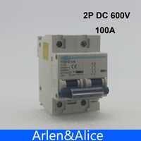 Disjoncteur de cc 600 V de 2 P 100A pour la courbe MCB du système C de PV