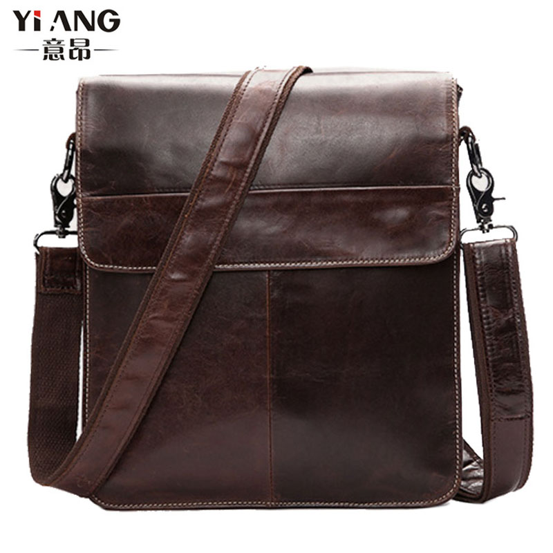 2017 New High Quality tide Men Oil wax Genuine Leather Cowhide Briefcase Vintage Business Travel Casual Crossbody Shoulder Bag new genuine leather men bag oil wax cowhide vintage male single shoulder crossbody messenger bag quality brand casual satchel