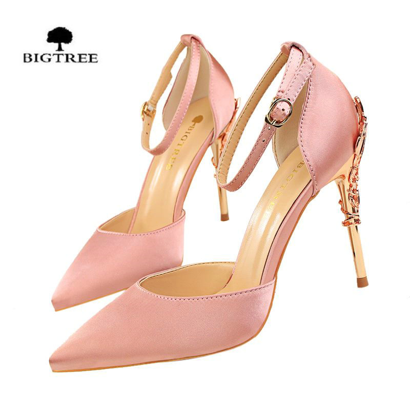 BIGTREE Fashion Sexy Thin Metal High Heels Shoes Shallow Mouth Hollow Out Pointed High Heel Sandal Summer Satin Sandals women spring summer high heels 2016 korean thin heels with a fine pointed shallow mouth sexy wedding shoes wear comfortablesuede shoes